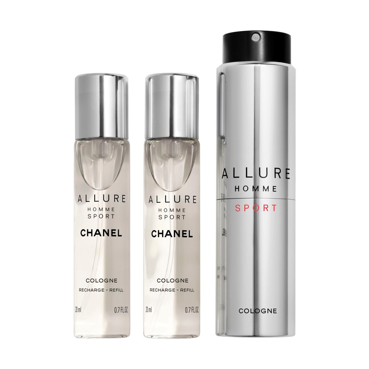 ALLURE HOMME SPORT COLOGNE REFILLABLE TRAVEL SPRAY 3 X 20ML