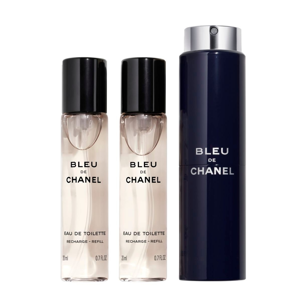 BLEU DE CHANEL EAU DE TOILETTE REFILLABLE TRAVEL SPRAY 3 x 20ml