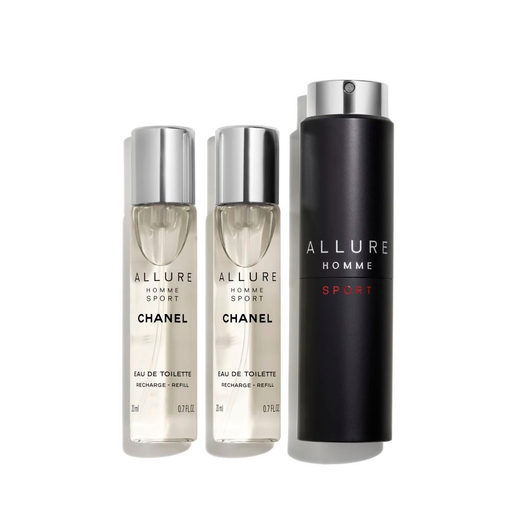 ALLURE HOMME SPORT EAU DE TOILETTE REFILLABLE TRAVEL SPRAY 3 x 20ml